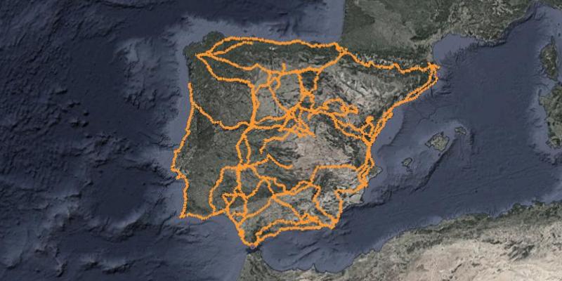 Mapa de grandes rutas en bicicleta por España